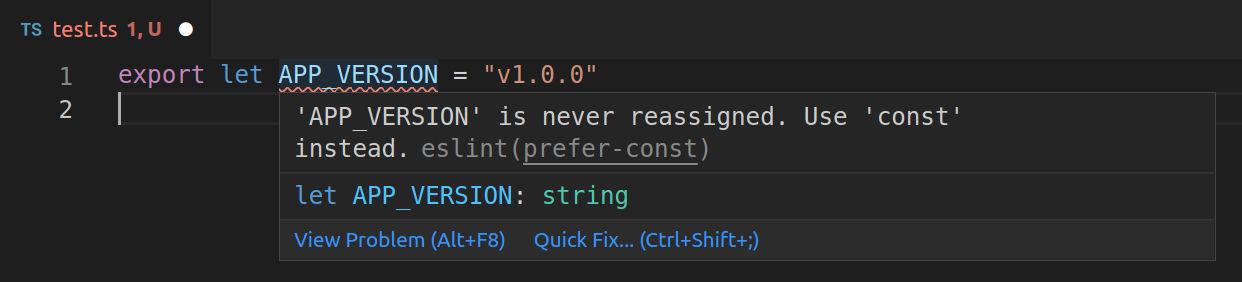 prefer-const eslint error example